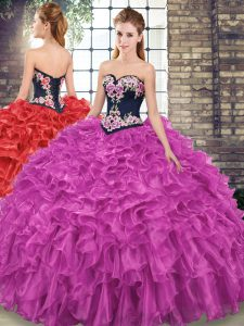 Embroidery and Ruffles Quinceanera Gowns Fuchsia Lace Up Sleeveless Sweep Train