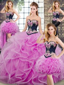 Sleeveless Embroidery and Ruffles Lace Up Ball Gown Prom Dress with Lilac Sweep Train