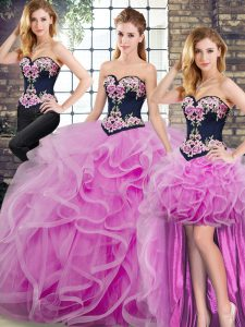 Wonderful Lace Up Vestidos de Quinceanera Lilac for Military Ball and Sweet 16 and Quinceanera with Embroidery and Ruffles Sweep Train