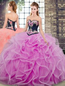Lilac Ball Gowns Sweetheart Sleeveless Tulle Floor Length Sweep Train Lace Up Embroidery and Ruffles Quinceanera Gown