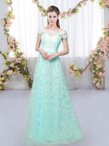 Floor Length Empire Cap Sleeves Apple Green Vestidos de Damas Lace Up