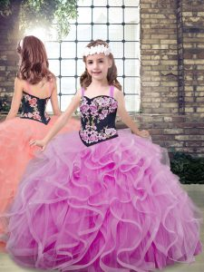 Floor Length Lace Up Kids Formal Wear Lilac for Party and Wedding Party with Embroidery and Ruffles