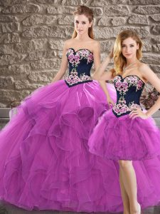 Chic Purple Sleeveless Floor Length Beading and Embroidery Lace Up Sweet 16 Dress
