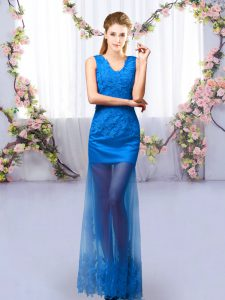 Extravagant Royal Blue Sleeveless Tulle Lace Up Dama Dress for Quinceanera for Prom and Party and Wedding Party