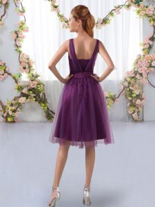 Pretty Sleeveless Zipper Knee Length Appliques Dama Dress
