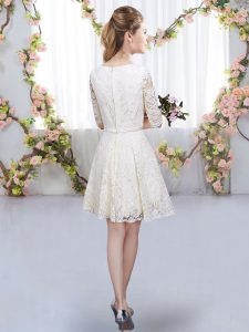 Best Lavender Lace Zipper Dama Dress Half Sleeves Mini Length Belt