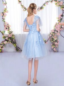 Light Blue Lace Up Quinceanera Court of Honor Dress Appliques Short Sleeves Knee Length
