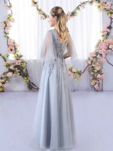 Hot Selling Grey Quinceanera Dama Dress Prom and Party and Wedding Party with Appliques V-neck Sleeveless Lace Up