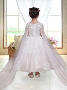 Colorful Long Sleeves Ankle Length Zipper Flower Girl Dress in White with Lace