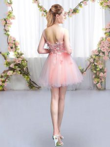 Excellent Pink Lace Up Scoop Appliques Quinceanera Court Dresses Tulle Half Sleeves