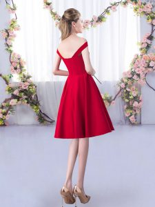 High Class Red A-line Satin Straps Sleeveless Ruching Knee Length Zipper Court Dresses for Sweet 16