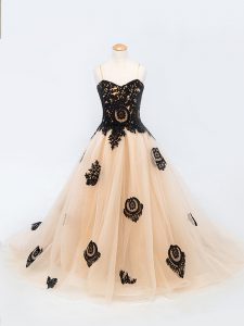 Unique Peach Sleeveless Tulle Brush Train Lace Up Little Girls Pageant Gowns for Wedding Party