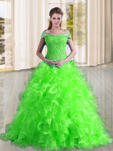 A-line Off The Shoulder Sleeveless Organza Sweep Train Lace Up Beading and Lace and Ruffles Quinceanera Dress