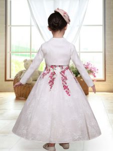 Low Price White Sleeveless Lace Zipper Flower Girl Dresses for Wedding Party