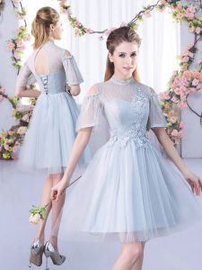 Glamorous Grey A-line Lace Vestidos de Damas Lace Up Tulle Short Sleeves Mini Length