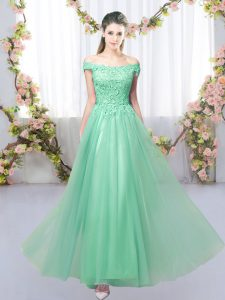 Best Selling Apple Green Tulle Lace Up Off The Shoulder Sleeveless Floor Length Dama Dress Lace