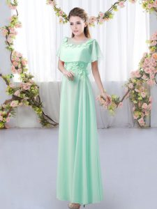 Apple Green Short Sleeves Floor Length Appliques Zipper Damas Dress