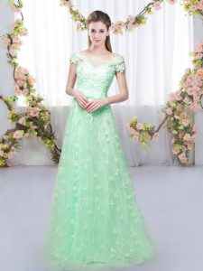 Cap Sleeves Tulle Floor Length Lace Up Court Dresses for Sweet 16 in Apple Green with Appliques