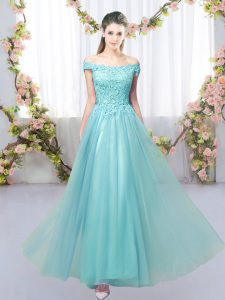 Aqua Blue Tulle Lace Up Off The Shoulder Sleeveless Floor Length Quinceanera Dama Dress Lace
