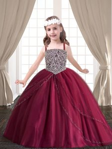 Red Ball Gowns Sweetheart Sleeveless Tulle Floor Length Lace Up Beading Quinceanera Gown