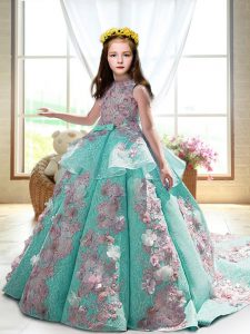 Turquoise Ball Gowns Appliques Child Pageant Dress Backless Satin Sleeveless
