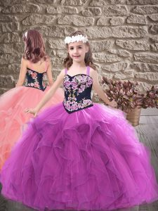 Tulle Straps Sleeveless Lace Up Embroidery and Ruffles Little Girls Pageant Dress in Purple