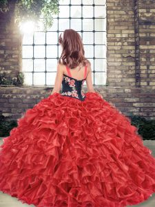 Customized Red Little Girls Pageant Dress Party and Wedding Party with Embroidery and Ruffles Straps Sleeveless Lace Up