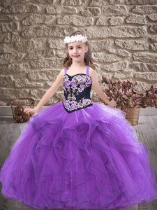 Floor Length Purple Little Girls Pageant Dress Wholesale Tulle Sleeveless Embroidery and Ruffles