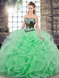 Chic Apple Green Tulle Lace Up Quinceanera Dresses Sleeveless Sweep Train Embroidery and Ruffles