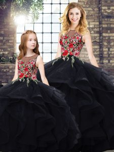 Black Lace Up Bateau Beading and Embroidery Sweet 16 Dress Tulle Sleeveless