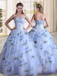 Great Lavender Sweet 16 Quinceanera Dress Military Ball and Sweet 16 and Quinceanera with Beading Sweetheart Sleeveless Lace Up