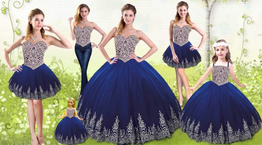 Royal Blue Ball Gowns Beading and Appliques Quince Ball Gowns Lace Up Tulle Sleeveless Floor Length