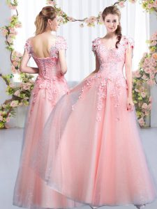 Suitable Cap Sleeves Beading and Appliques Lace Up Quinceanera Court of Honor Dress
