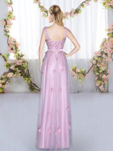 Beading and Appliques Dama Dress for Quinceanera Lavender Lace Up Sleeveless Floor Length