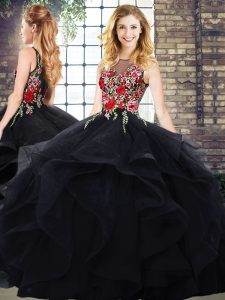 Deluxe Black Sleeveless Floor Length Beading and Embroidery Lace Up 15th Birthday Dress