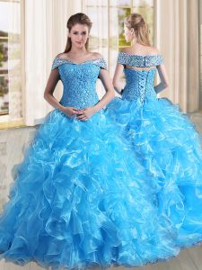 Sweep Train A-line Sweet 16 Quinceanera Dress Baby Blue Off The Shoulder Organza Sleeveless Lace Up