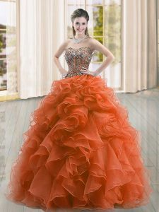 Custom Fit Rust Red Organza Lace Up Quinceanera Gowns Sleeveless Floor Length Beading and Ruffles