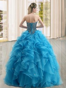 Blue Organza Lace Up Sweetheart Sleeveless Floor Length Quinceanera Gown Beading and Ruffles
