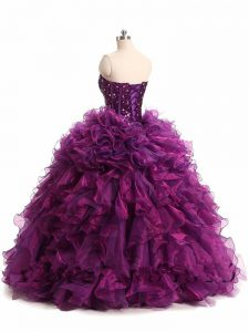Beauteous Organza Sweetheart Sleeveless Lace Up Beading and Ruffles Quince Ball Gowns in Purple