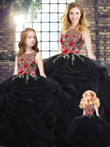 Floor Length Zipper Ball Gown Prom Dress Black for Military Ball and Sweet 16 and Quinceanera with Embroidery and Ruffles