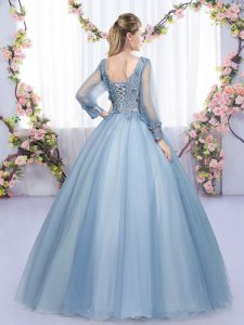Tulle V-neck Long Sleeves Lace Up Lace and Appliques Quinceanera Gowns in Blue