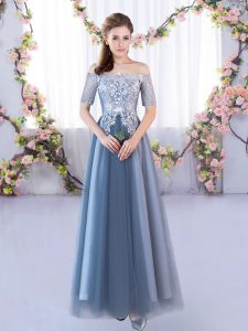 Blue Tulle Lace Up Off The Shoulder Short Sleeves Floor Length Damas Dress Lace
