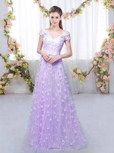 Charming Lavender Tulle Lace Up Quinceanera Court of Honor Dress Cap Sleeves Floor Length Appliques