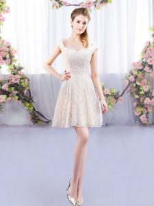 Excellent Cap Sleeves Mini Length Lace Lace Up Quinceanera Court of Honor Dress with Champagne