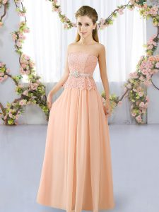 Peach Quinceanera Court of Honor Dress Prom and Party and Wedding Party with Lace and Belt Strapless Sleeveless Lace Up