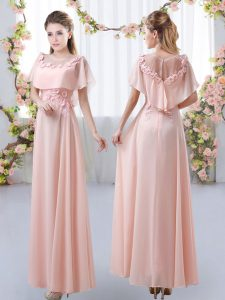 Sexy Pink Short Sleeves Chiffon Zipper Quinceanera Court Dresses for Prom and Party and Wedding Party