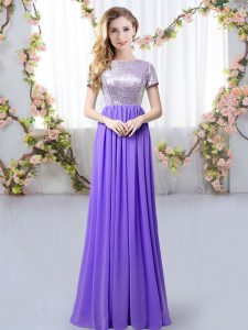 Wonderful Lavender Short Sleeves Floor Length Sequins Zipper Dama Dress for Quinceanera