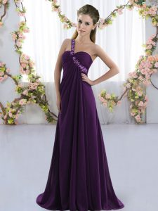 New Arrival Purple Chiffon Lace Up Quinceanera Court of Honor Dress Sleeveless Brush Train Beading