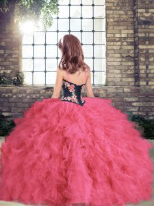 Sleeveless Floor Length Embroidery and Ruffles Lace Up Kids Formal Wear with Coral Red