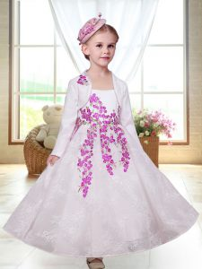 Perfect White Straps Zipper Embroidery Flower Girl Dress Sleeveless